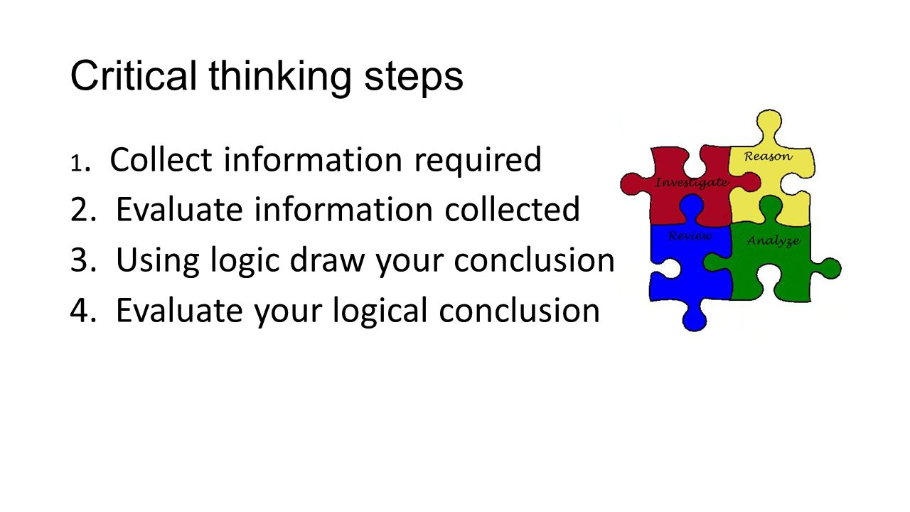 4 steps to critical thinking Critical thinking: the 4-step process that great writing is based on with not too much effort, you can find a template to tell you how to do almost anything: write a business letter, construct a thesis, churn out a pulp novel.