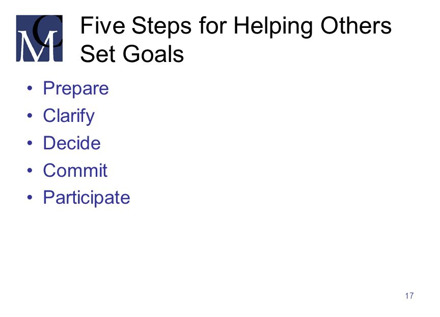 Five Steps for Helping Others Set Goals