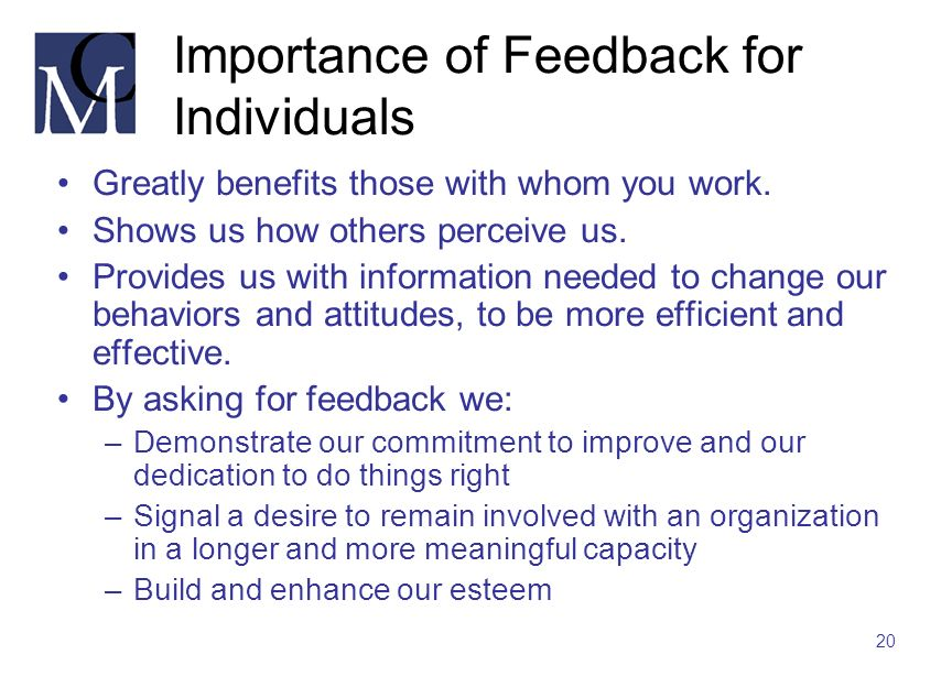 Importance of Feedback for Individuals