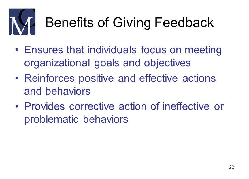 Benefits of Giving Feedback