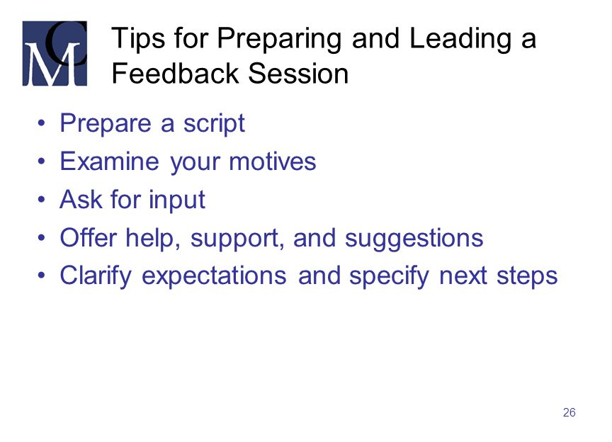 Tips for Preparing and Leading a Feedback Session