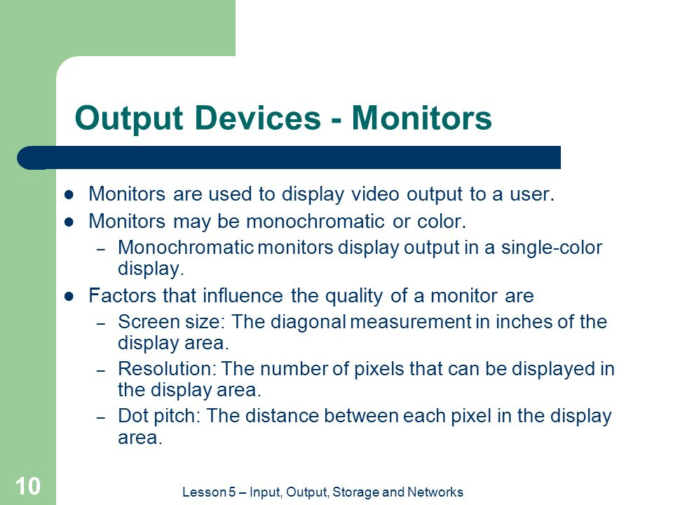 Output Devices - Monitors