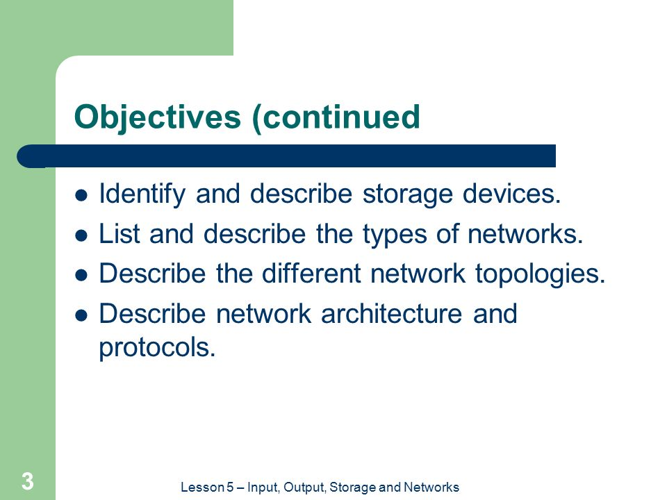 Objectives (continued