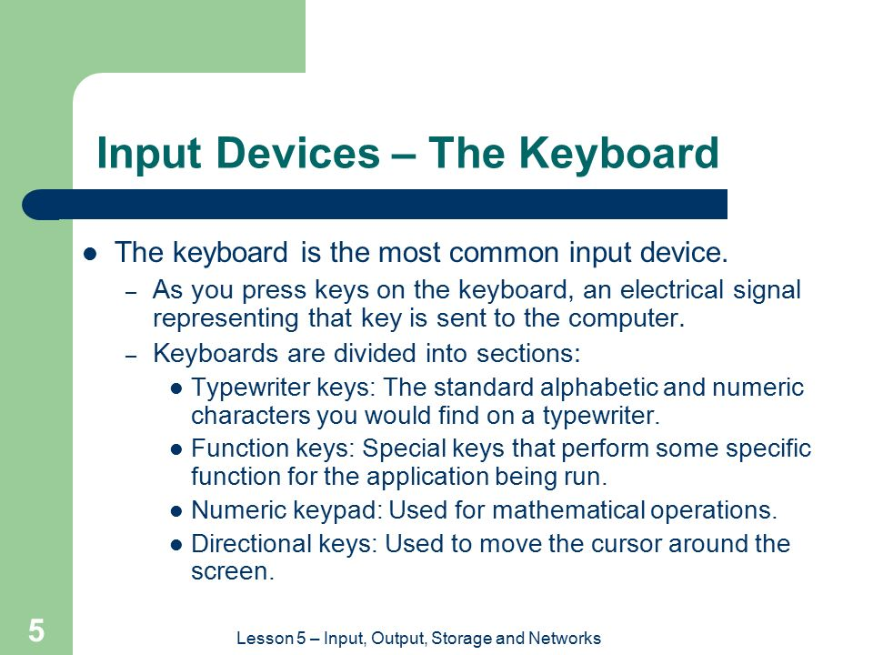 Input Devices – The Keyboard