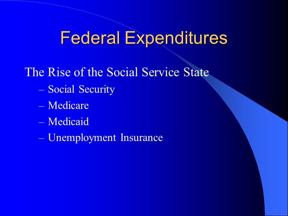 Federal Expenditures The Rise of the Social Service State