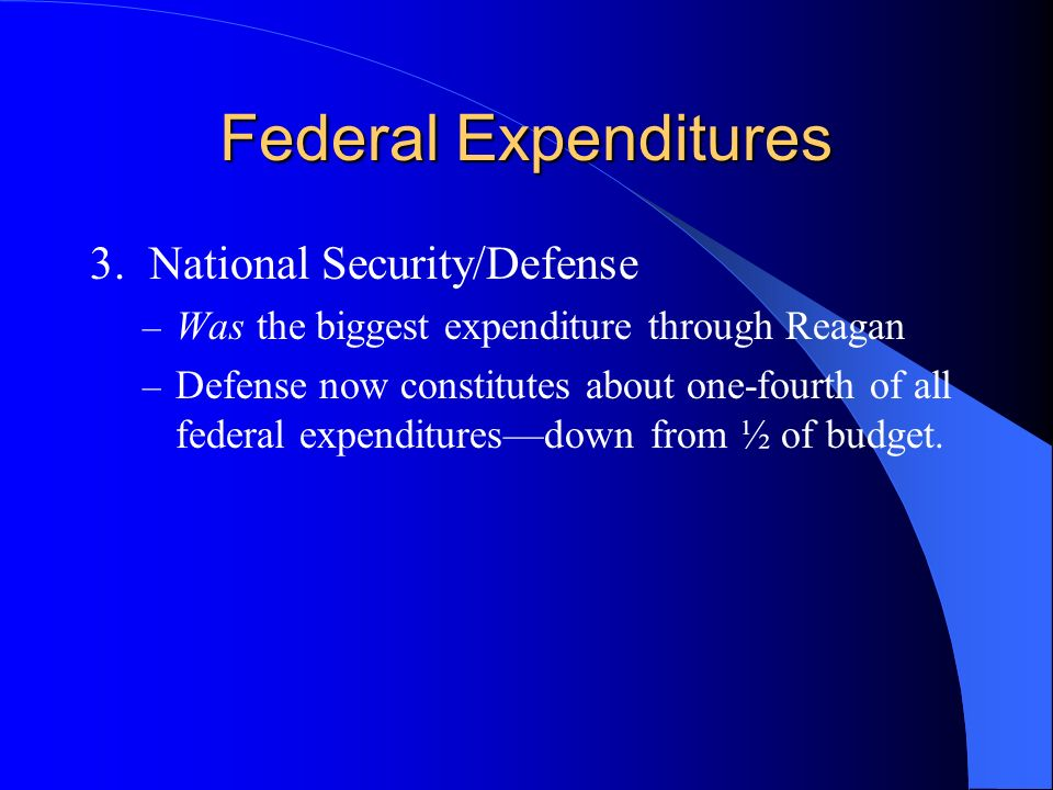 Federal Expenditures 3. National Security/Defense