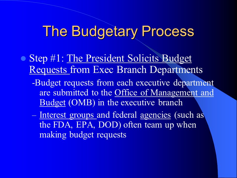 The Budgetary Process Step #1: The President Solicits Budget Requests from Exec Branch Departments.
