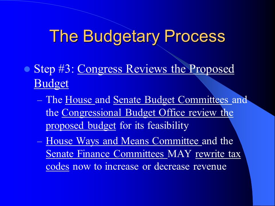 The Budgetary Process Step #3: Congress Reviews the Proposed Budget