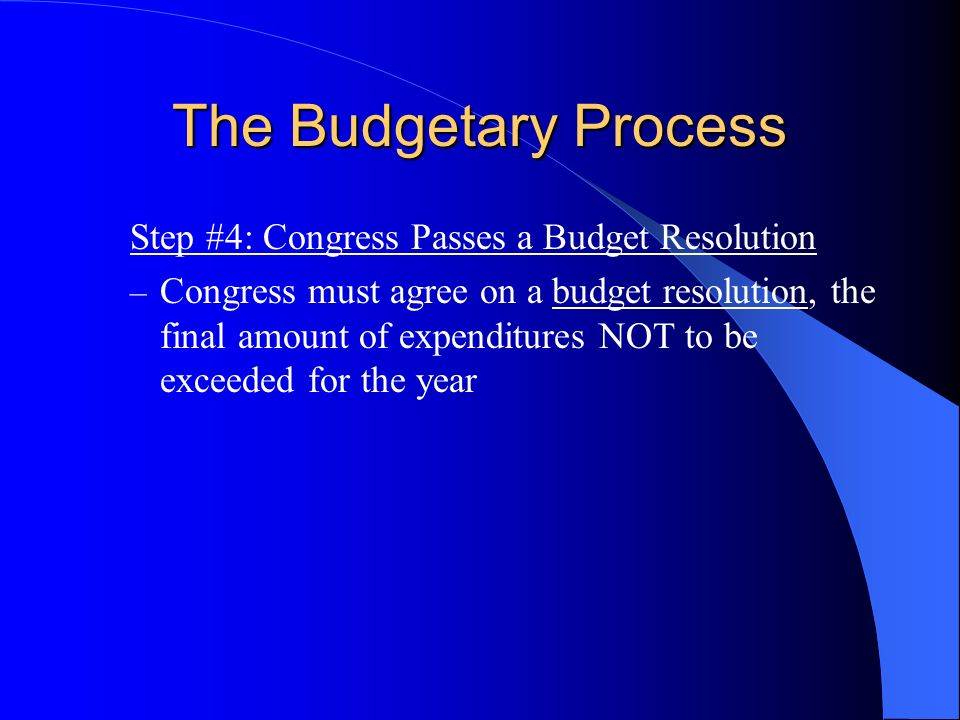The Budgetary Process Step #4: Congress Passes a Budget Resolution