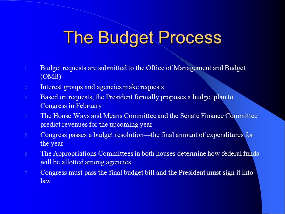 The Budget Process Budget requests are submitted to the Office of Management and Budget (OMB) Interest groups and agencies make requests.