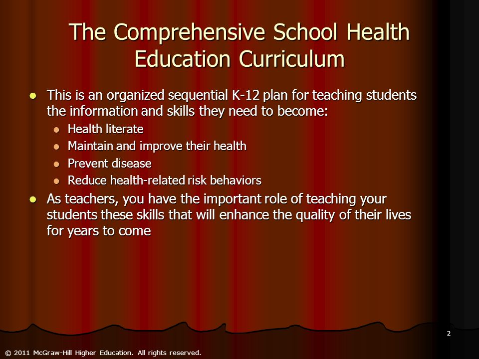 The Comprehensive School Health Education Curriculum