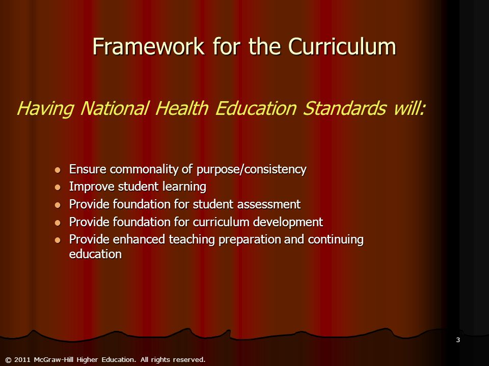 Framework for the Curriculum