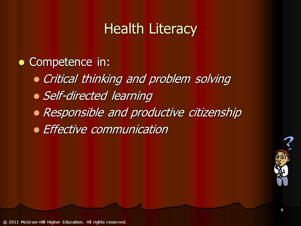 Health Literacy Competence in: Critical thinking and problem solving