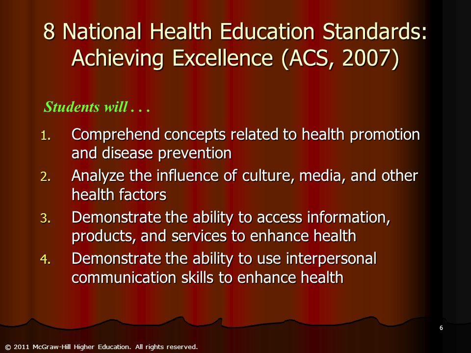 8 National Health Education Standards: Achieving Excellence (ACS, 2007)