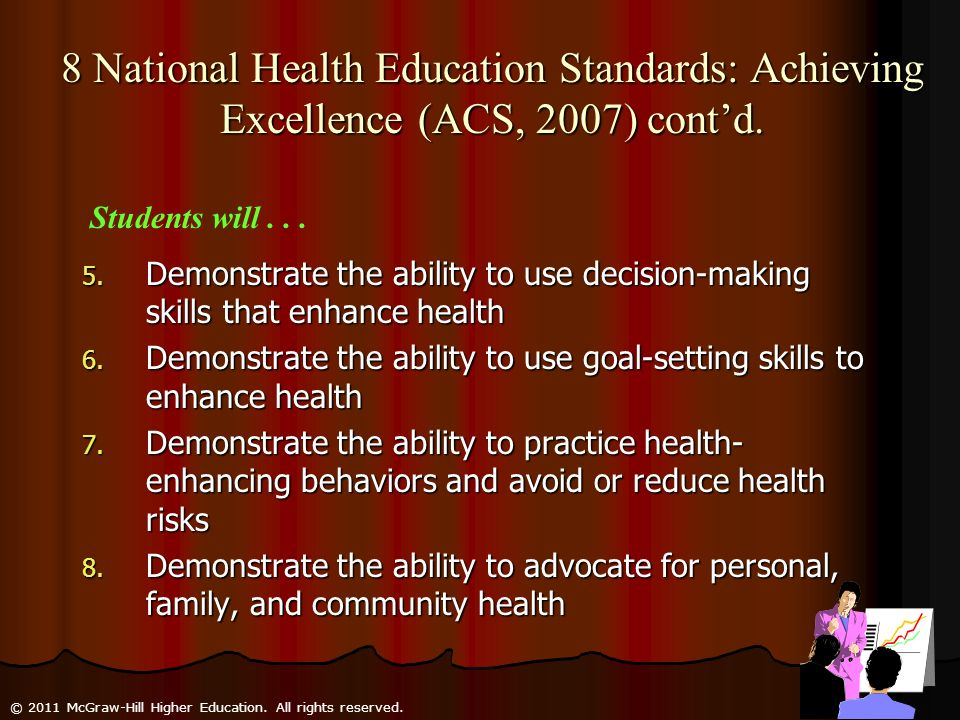 8 National Health Education Standards: Achieving Excellence (ACS, 2007) cont'd.