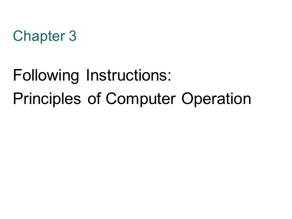 Following Instructions Principles Of Computer Operation Ppt Video