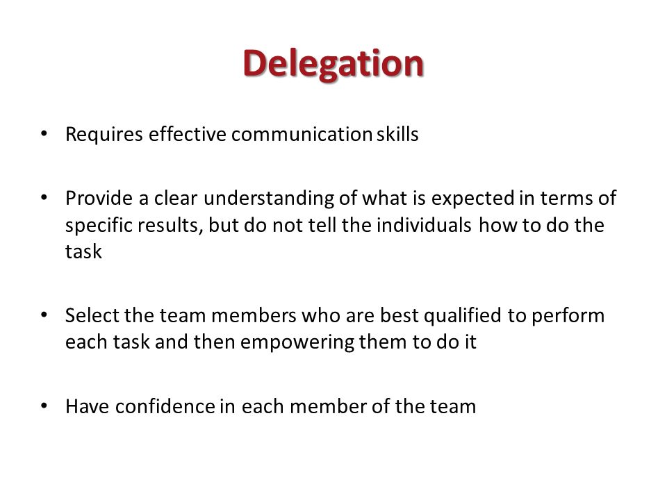 understanding effective delegation essay Published: mon, 5 dec 2016 newly registered nurses or nurses re-entering the workforce face many challenges one of these issues is delegation in this essay you are required to develop an in depth and detailed understanding of delegation and how it apply to you as a newly registered nurse.
