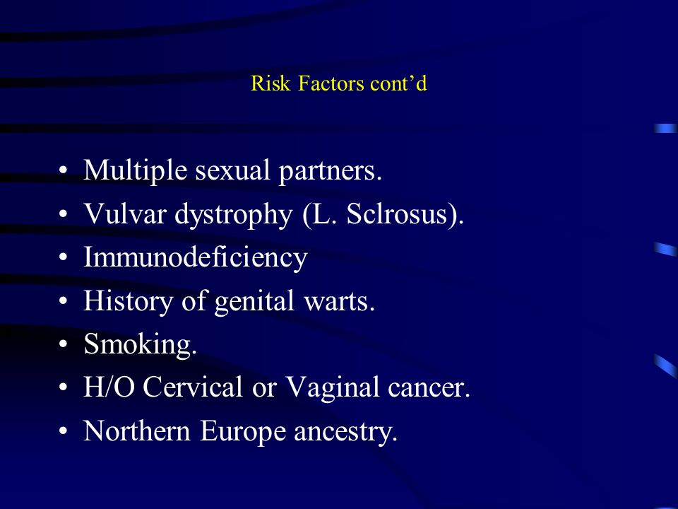 Prostate cancer multiple sex partners is a cause