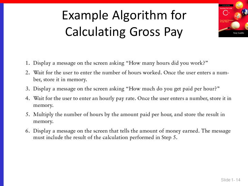Example Algorithm for Calculating Gross Pay
