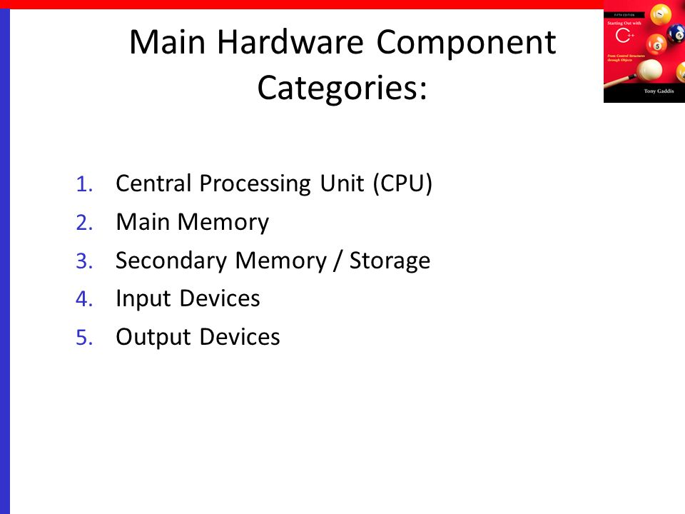 Main Hardware Component Categories: