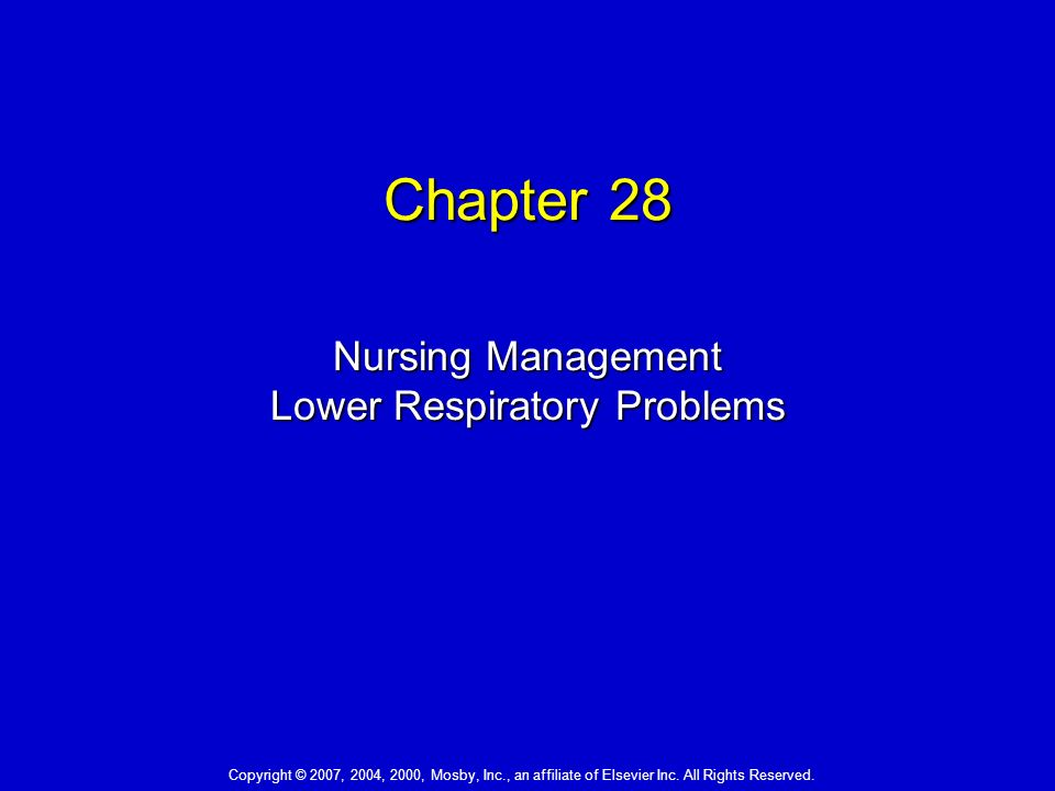 chapter 28 nursing management lower respiratory Chapter 28: nursing management: lower respiratory problems test bank multiple choice 1 following assessment of a patient with pneumonia, the nurse identifies a nursing diagnosis of.