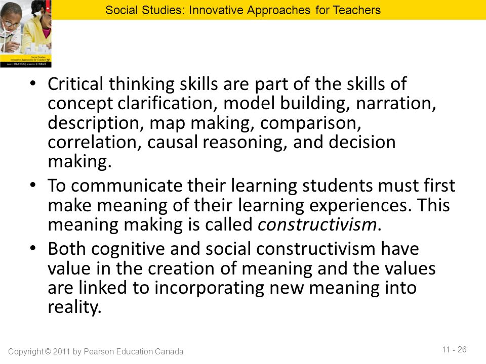 critical thinking in social studies Strategies for teaching critical thinking bonnie potts,  for example, students in social studies can learn the rules for discoveries versus.