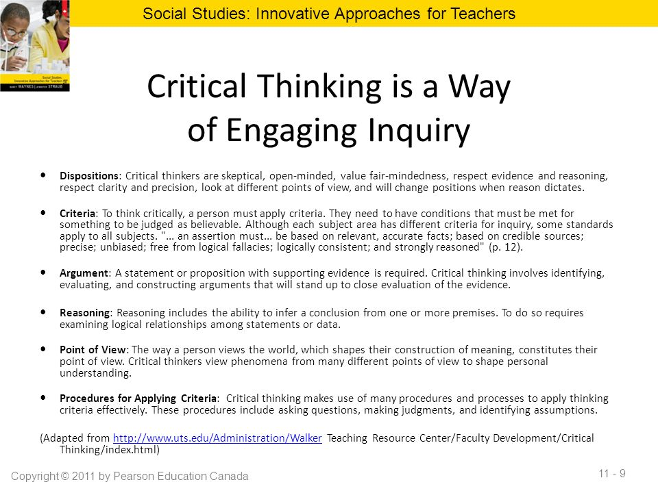 critical thinking social studies lessons Lessons involving higher order thinking skills require particular clarity of communication to  critical thinking  which focused on social studies and.
