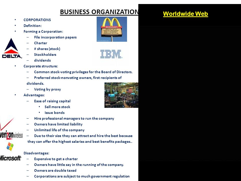 BUSINESS ORGANIZATIONS - ppt video online download