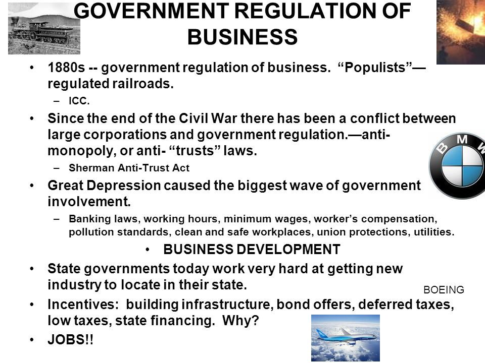government regulation of corporate business and Reasoned government regulation of derivatives needed march 9, 1994 | james flanigan an enormous new financial business that could trouble even the federal reserve board and yet defies the understanding of the nation's best financial minds is terrifying governments around the world while also earning billions of dollars for the united states.