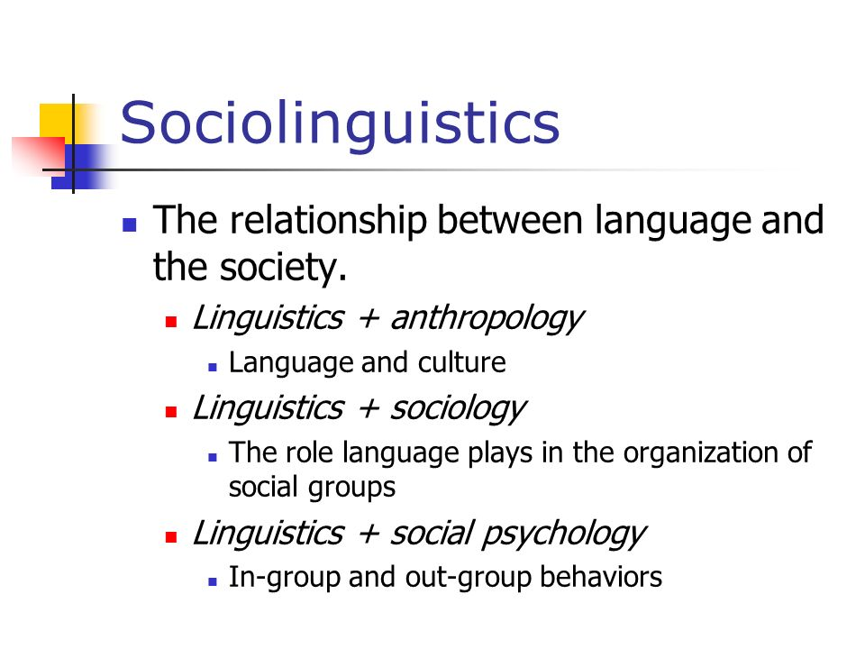 Sociolinguistics The relationship between language and the society.