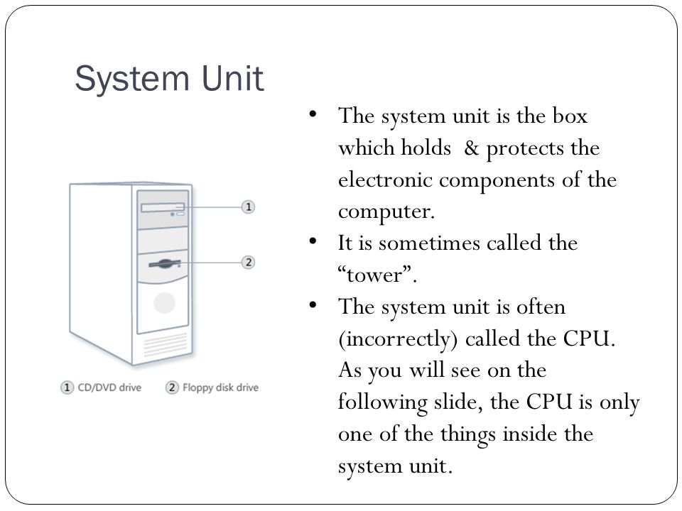 System Unit The system unit is the box which holds & protects the electronic components of the computer.