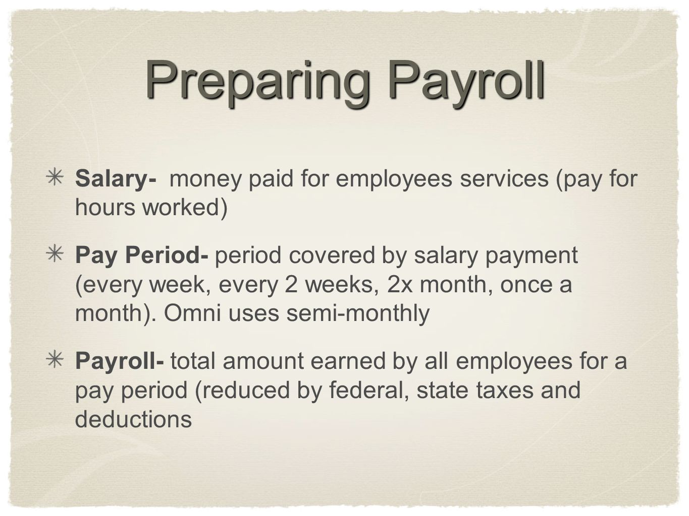 Preparing Payroll Salary- money paid for employees services (pay for hours worked)