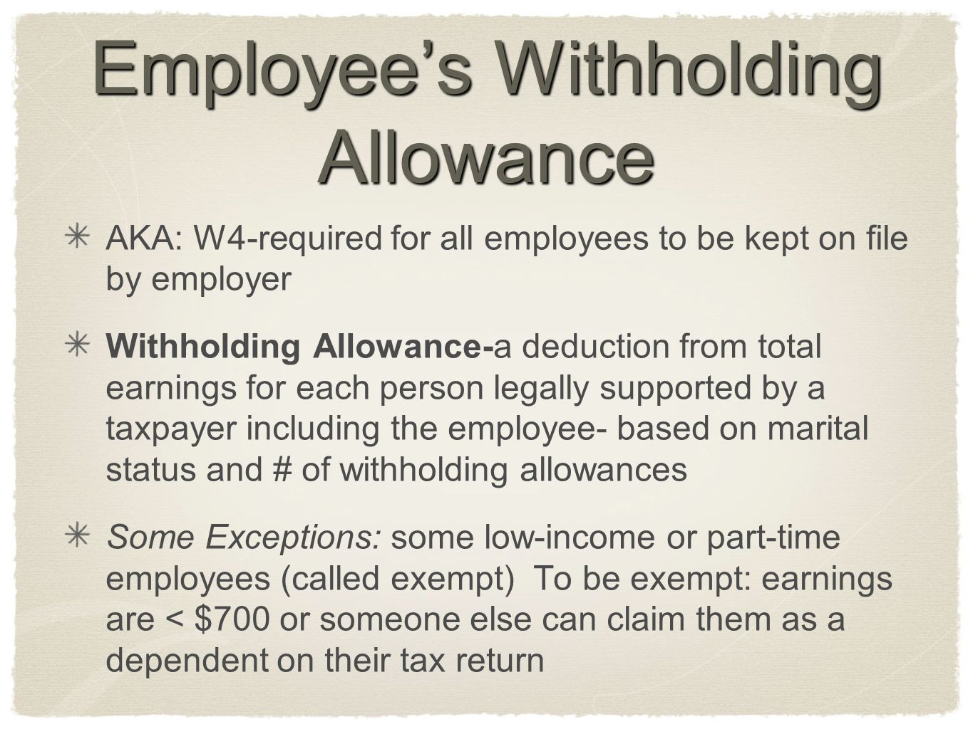 Employee's Withholding Allowance