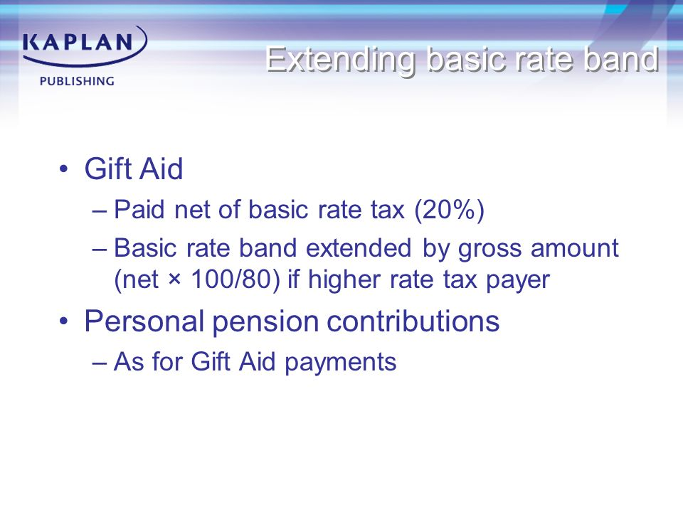 Acca f6 taxation ppt download 12 extending basic rate band gift aid negle Image collections