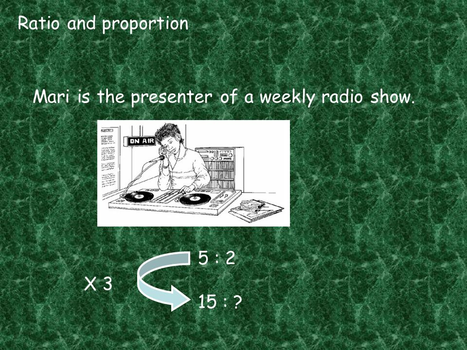 Ratio and proportion Mari is the presenter of a weekly radio show. 5 : 2 15 : X 3