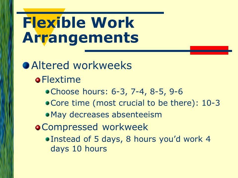 chapter 5 flexible work arrangements at Negotiate your way to a flexible schedule and aim for achieving work-life balance   5 compromise by its very nature, negotiating relies on both parties giving up  something in order to get  ready to write the next chapter of your career.
