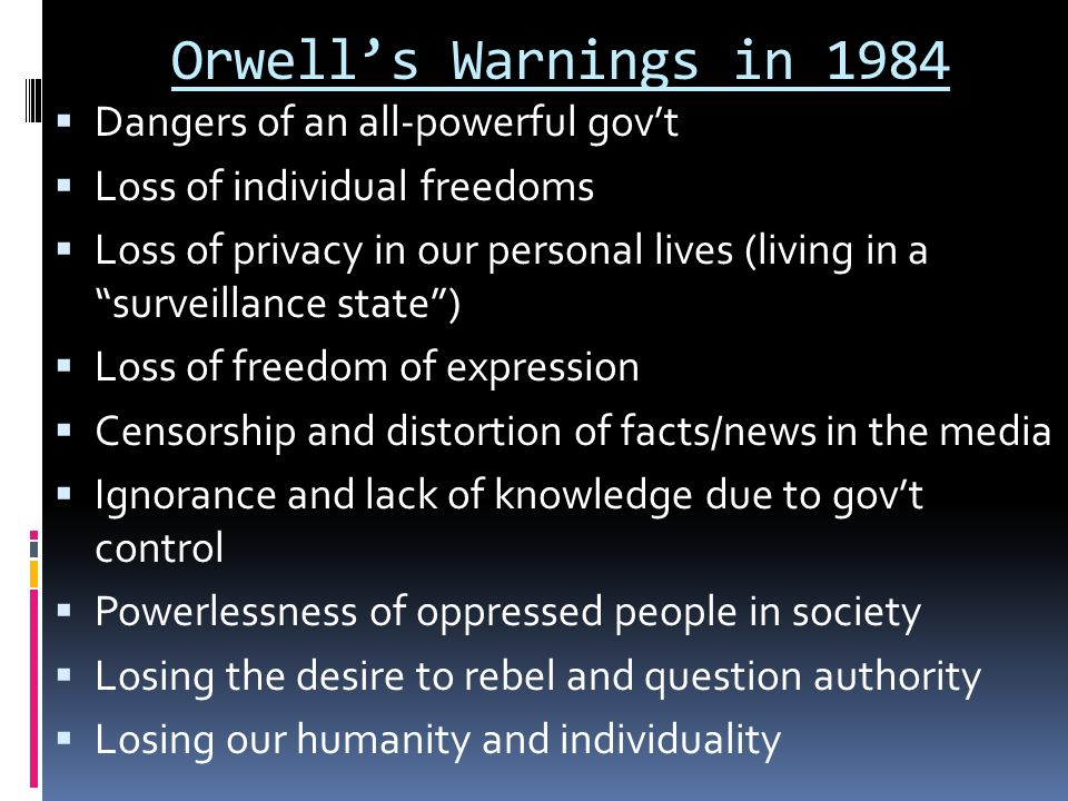george orwell individual vs society 1984 The destruction of the individual george orwell's nineteen bornedal as big brother (as if he has family ties to the entire population) the world according to 1984 in orwell 's fictive since they have built-in cameras that can monitor the individual orwell's society.