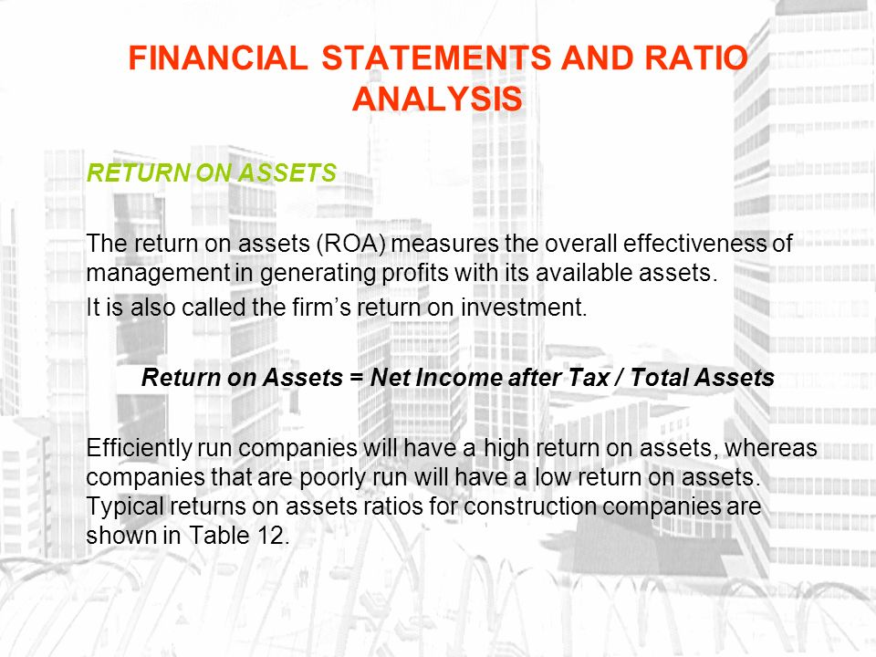 how to calculate return on assets from financial statement