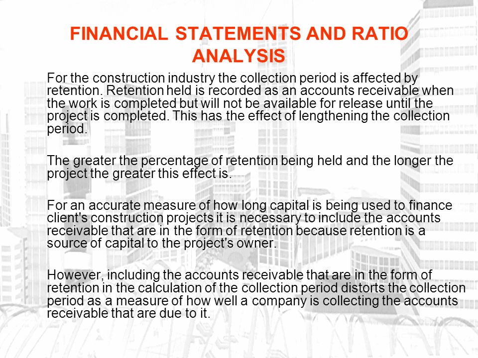 ratio analysis construction company Business evaluation guide example of a template for business evaluation 27 analysis of industry monitoring these areas will include financial ratio analysis.
