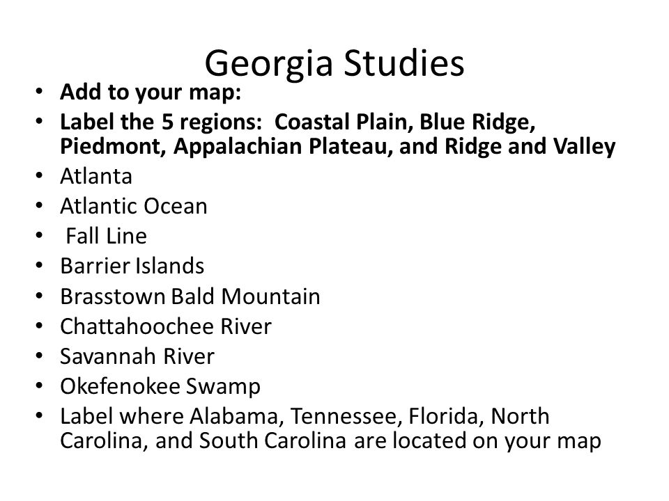 Unit Geography Of Georgia Ppt Video Online Download - Georgia map label