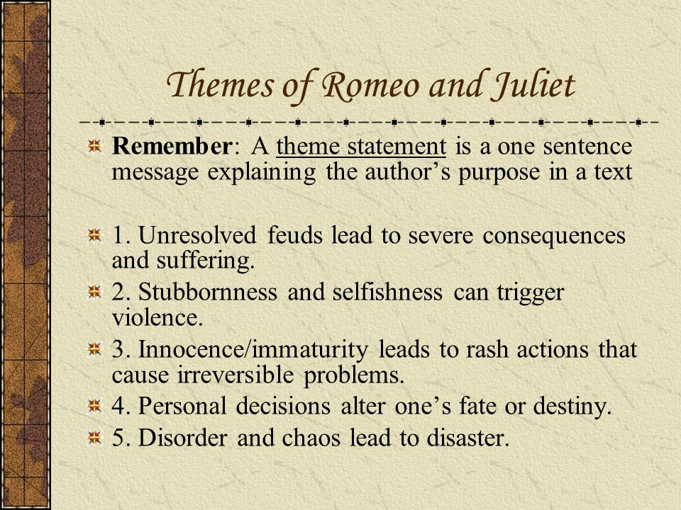 the theme of violence in romeo and juliet The major themes of romeo and juliet include love v lust, the passage of time, the role of fate in one's life, the role of women, and love vs hate you'll find a description and examples of each in this study guide.