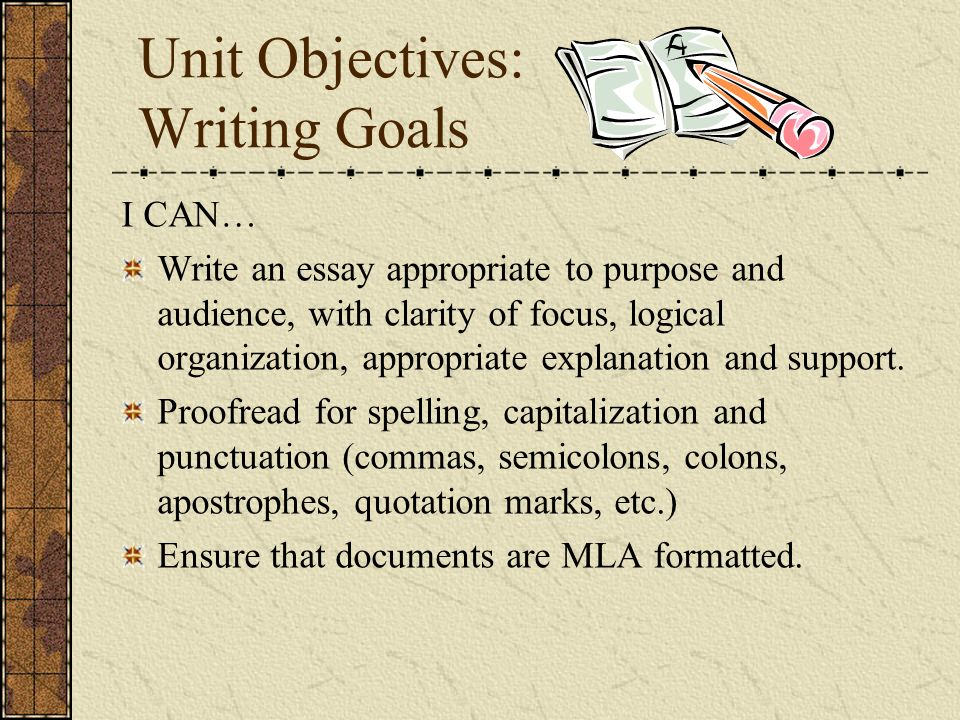 writing and grammar goals and objectives