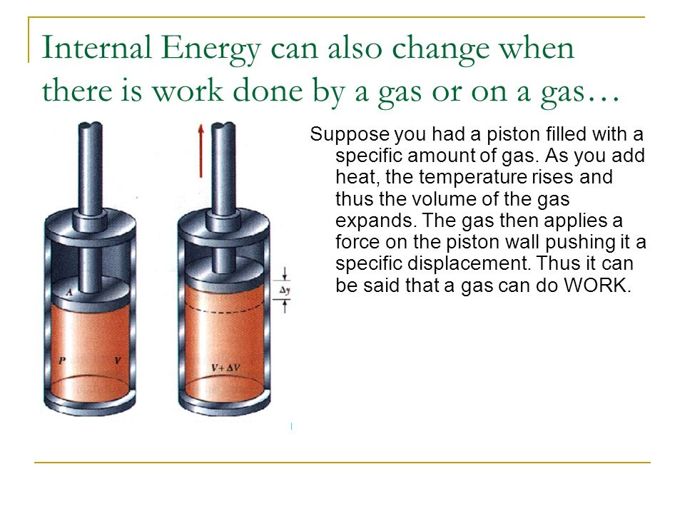 Internal Energy can also change when there is work done by a gas or on a gas…