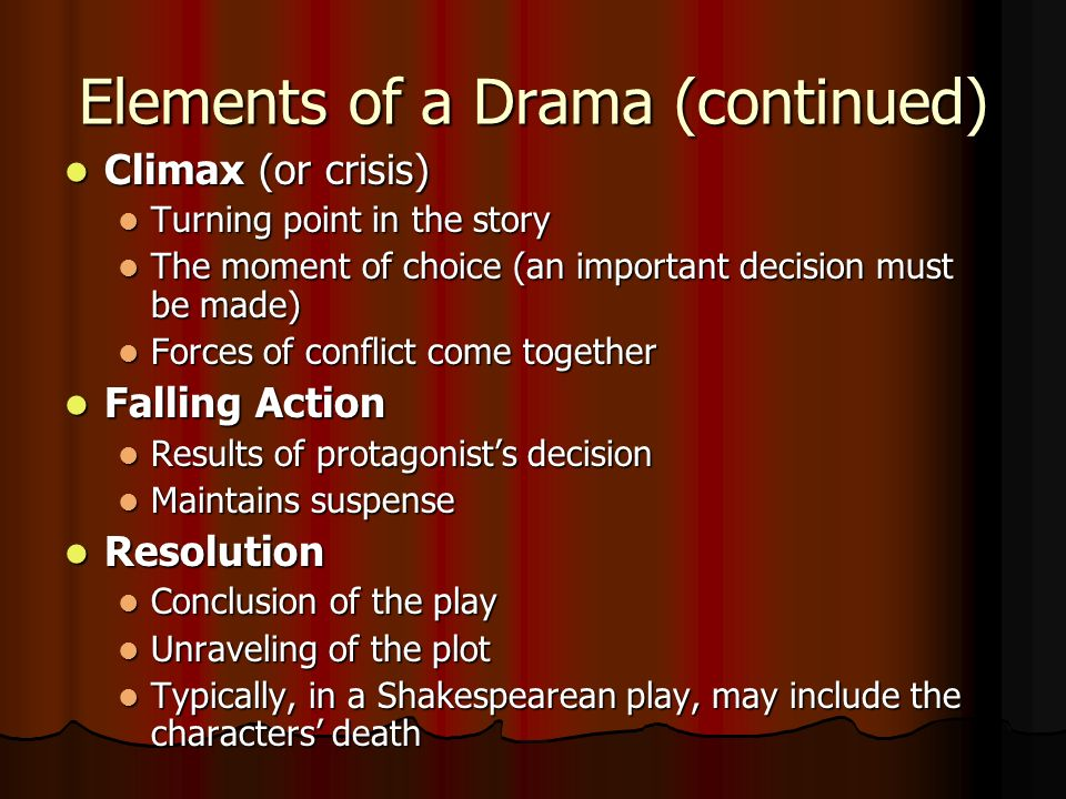 the elements of drama essay Drama is the specific mode of fiction represented in performance: a play performed in a theatre, or on radio or television considered as a genre of poetry in general.