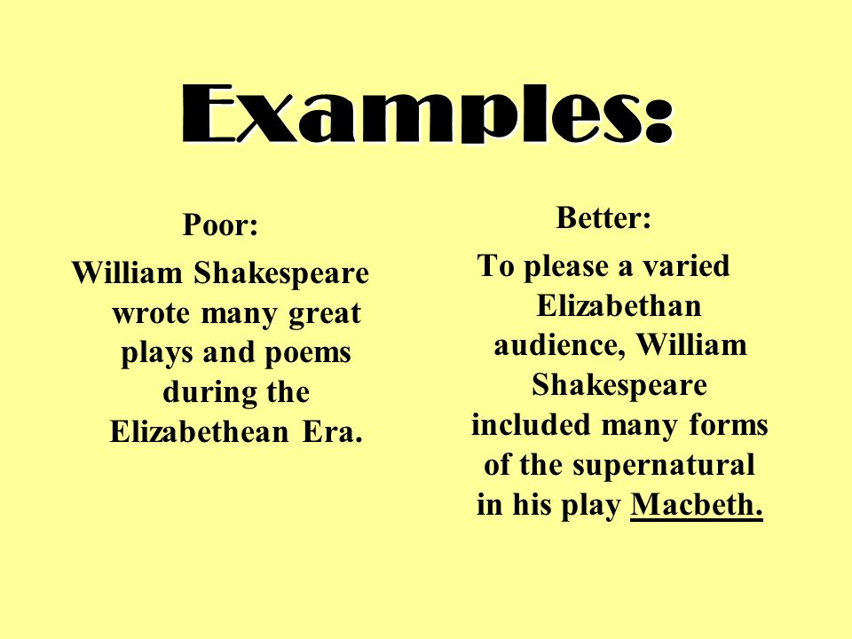 elizabethan poetry thesis statement Definition, usage and a list of thesis examples in common speech and literature a thesis is a statement in a non-fiction or a fiction work that a writer intends to support and prove.