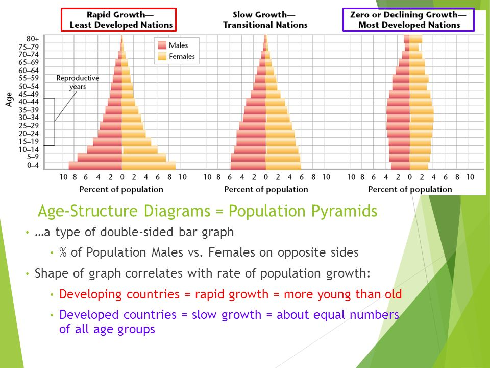 Age-Structure Diagrams = Population Pyramids