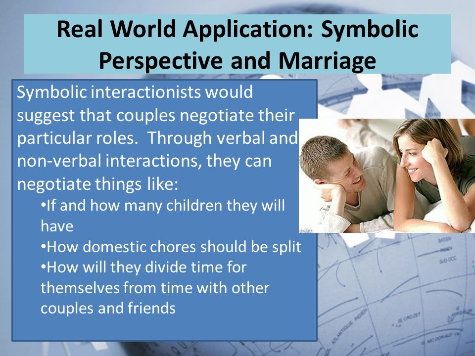 marriage and symbolic interactionism The symbolic interaction theory, also called symbolic interactionism, is defined by dictionary reference as a theory that human interaction and communication are aided by words, gestures and symbols with conventionalized meanings ashley crossman states on about that this theory is a major framework.