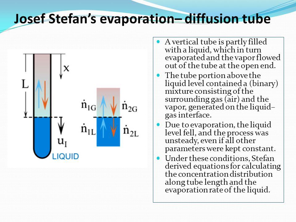 diffusion on a liquid in a Diffusion is a process leading to equalization of substance concentrations in a system or establishing in a system an equilibrium concentration distribution that results from random migration of the system's elements.