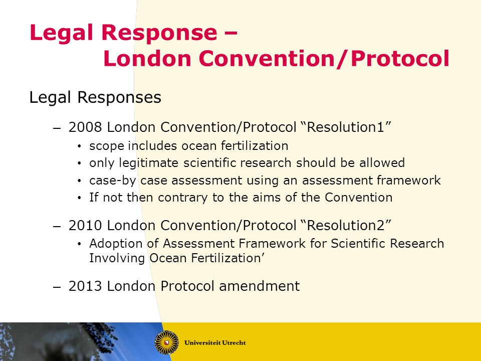 Legal Response – London Convention/Protocol