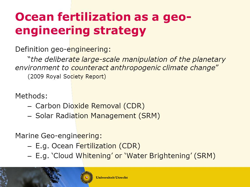 Ocean fertilization as a geo-engineering strategy